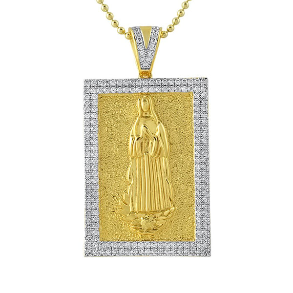 Mary Christian Gold Block CZ Medallion