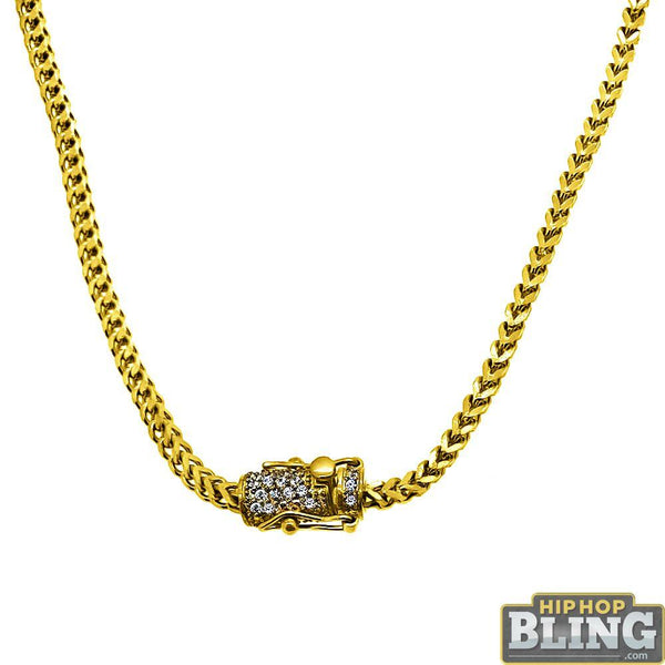 CZ Diamond Lock Gold Steel 2.5MM Franco Chain
