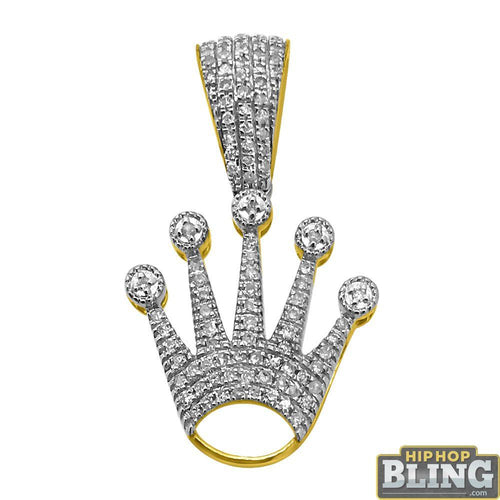 10K Gold Crown Pendant .20cttw Diamonds