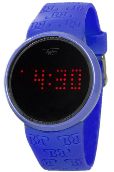 Touch Screen Digital Watch in Blue Techno pave