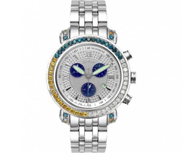 4.50ct Blue Yellow & White Diamond Bezel Joe Rodeo Watch