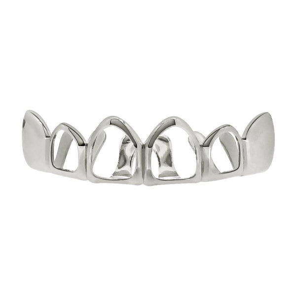 Silver Grillz 4 Open Outline Top Teeth