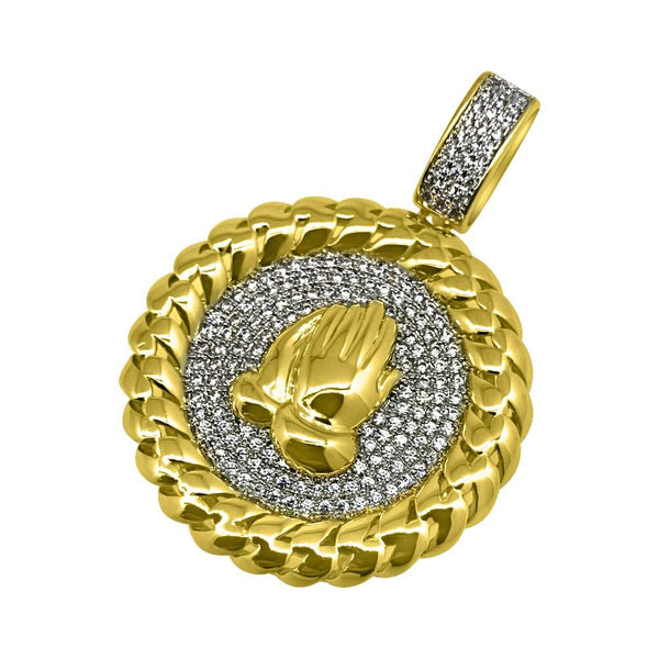 .925 Silver Prayer Hands Gold Cuban CZ Bling Pendant