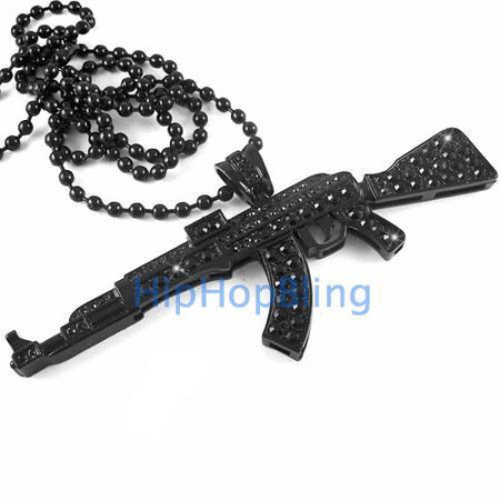 3D Black on Black Bling Bling Chain