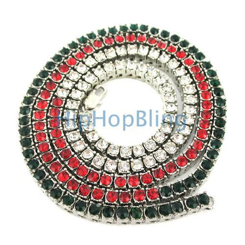 SALE Tri Color Green & Red & White Bling Bling Chain