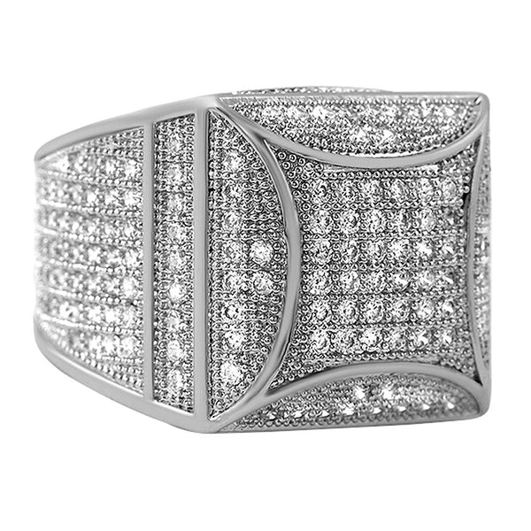 Kite Box Bling Bling Rhodium CZ Micro Pave Ring