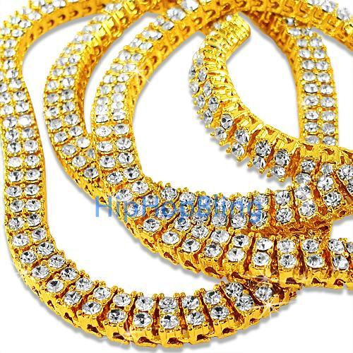 2 Row Gold Iced Out Bling Bling Chain