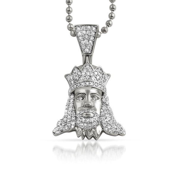 Jesus with Crown Iced Out CZ Pendant Rhodium