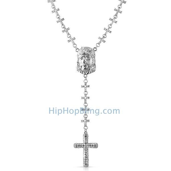 Jesus Piece Fully Bling Bling Cross Link Rosary Necklace