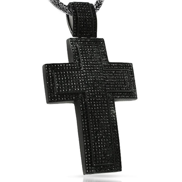 XXL Mega Bling Bling Cross Black on Black