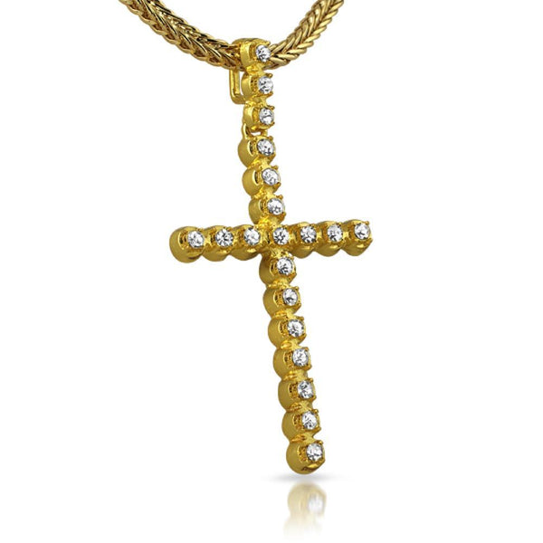 1 Row Gold Bling Bling Cross