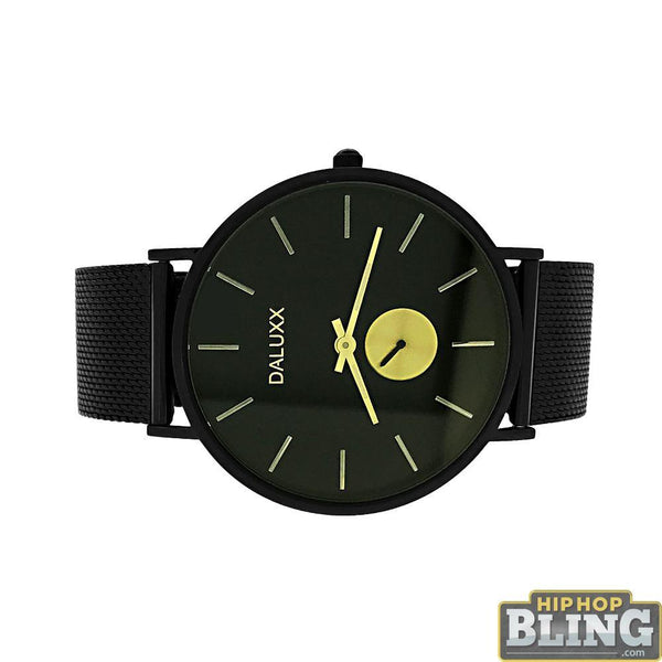 Black Mesh Watch Gold Subdial Markers