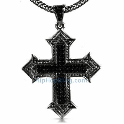 Designer Cross Black Bling Bling Chain Small