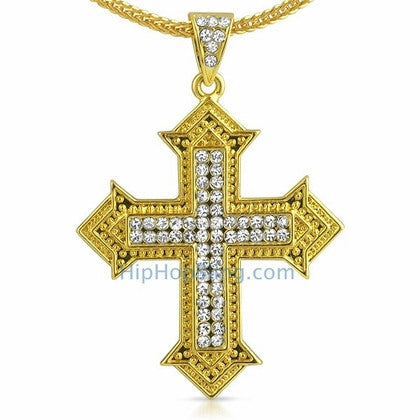Designer Cross Gold Bling Bling Chain Small