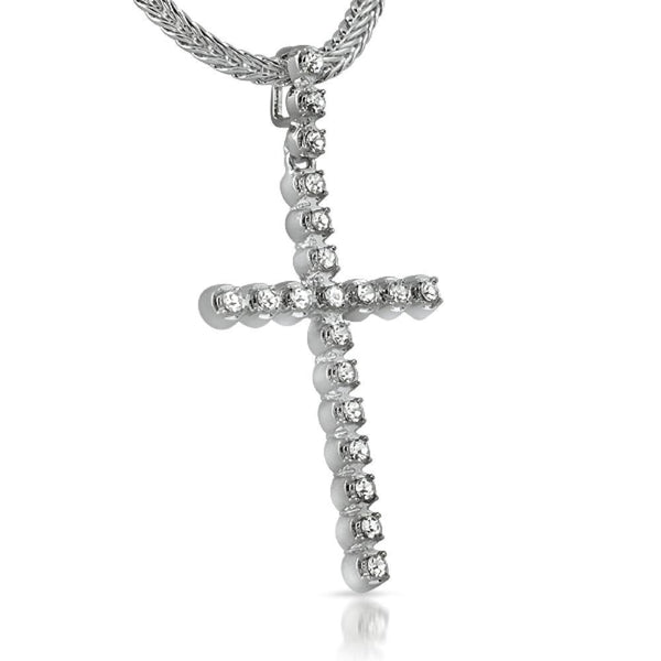 1 Row Rhodium Bling Bling Cross