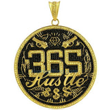 365 HUSTLE Jumo Black & Yellow Lab CZ Medallion