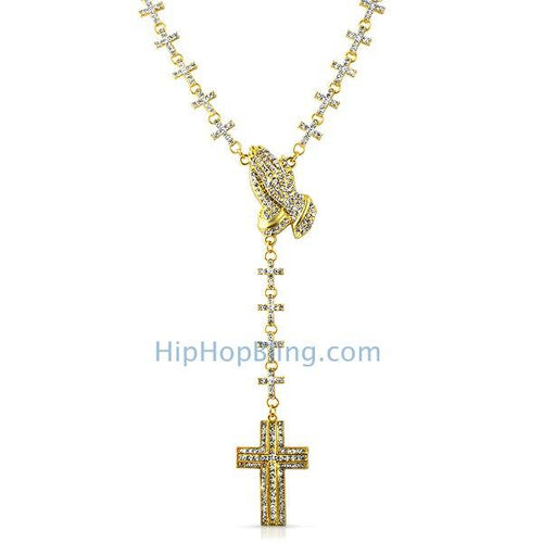 Gold Praying Hands Fully Bling Cross Link Rosary Necklace