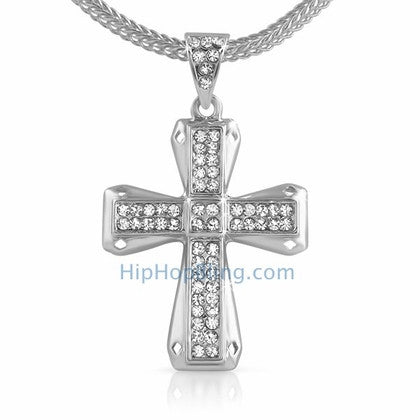 Diamond Cut Bling Bling Cross & Chain Small