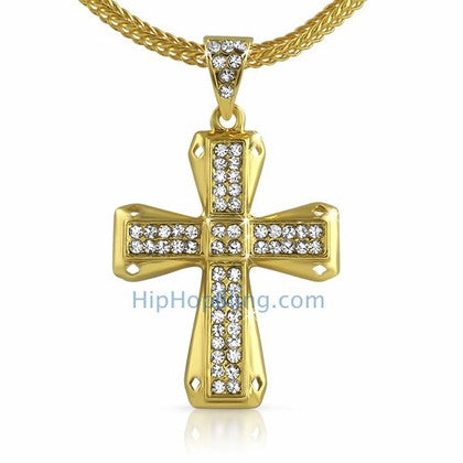 Diamond Cut Gold Bling Bling Cross & Chain Small