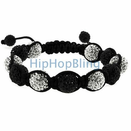 Disco Ball Bracelet High End 10mm White & Black Black Rope