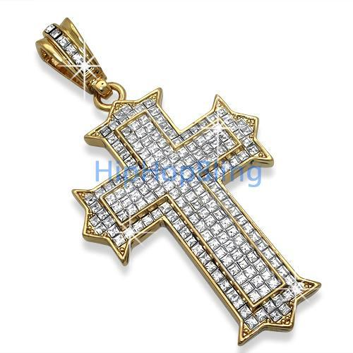 Designer Princess Cut Gold Bling Bling Cross