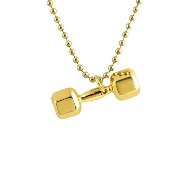 Shiny 3D Gold Plated Dumbbell Pendant Crossfit