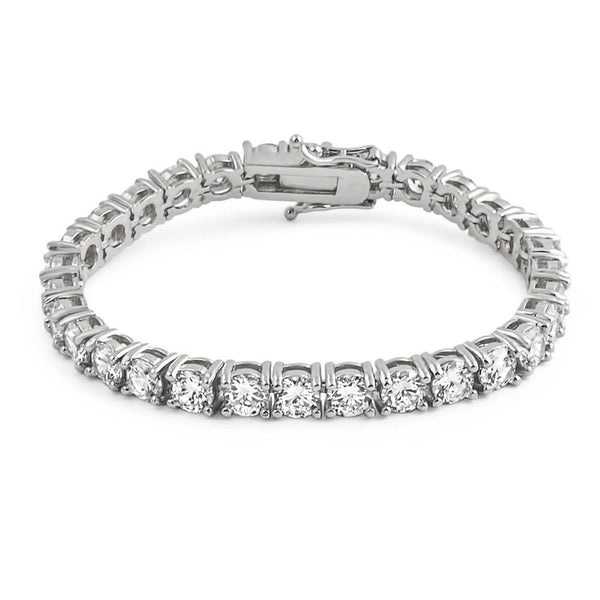 .925 Silver 6MM CZ 1 Row Bling Tennis Bracelet Rhodium