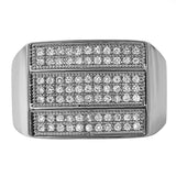 Triple Ice Bar Rhodium CZ Bling Bling Ring