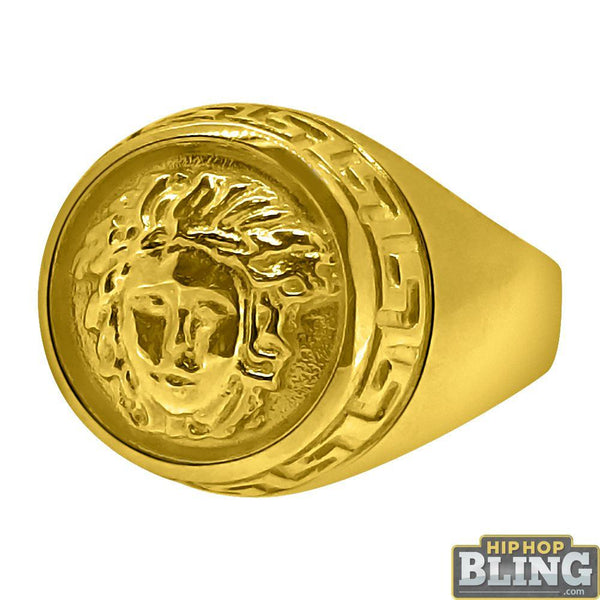 10K Yellow Gold Circle Medusa Ring Greek Trim