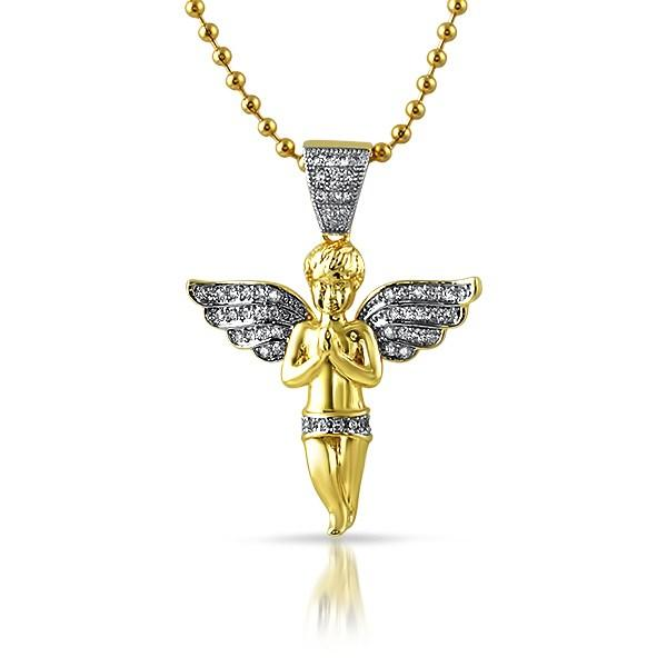Micro Angel Praying Gold CZ Pendant