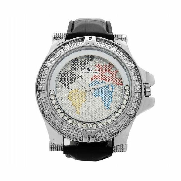Map Dial Floating Super Techno Watch .10ct Diamonds