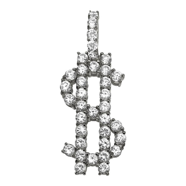 Dollar Sign Bling Bling Pendant 3MM CZ Steel