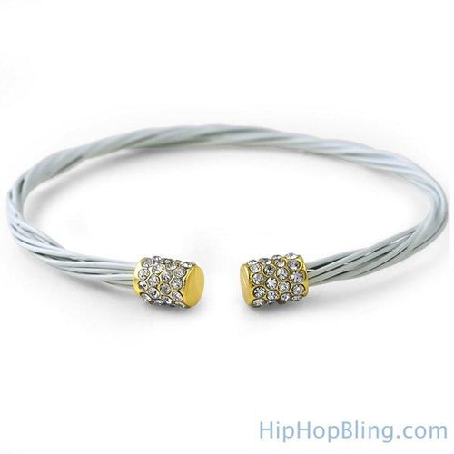 Bling Gold White Guitar String Fashion Bracelet