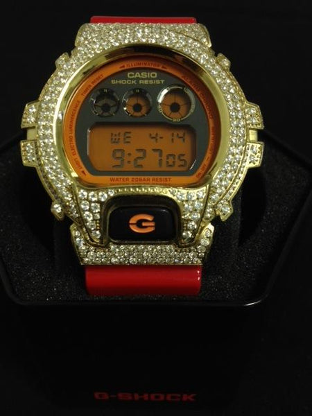Iced Out Gold G Shock Red Watch DW6900