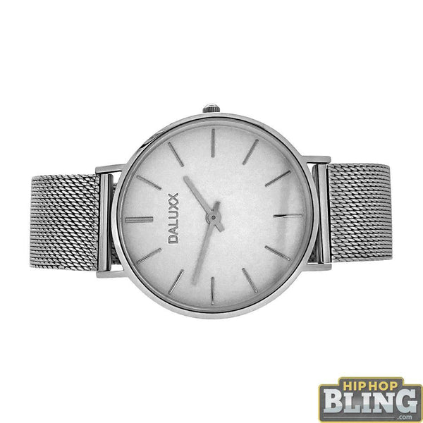 Slim Case Steel Mesh Watch White Dial