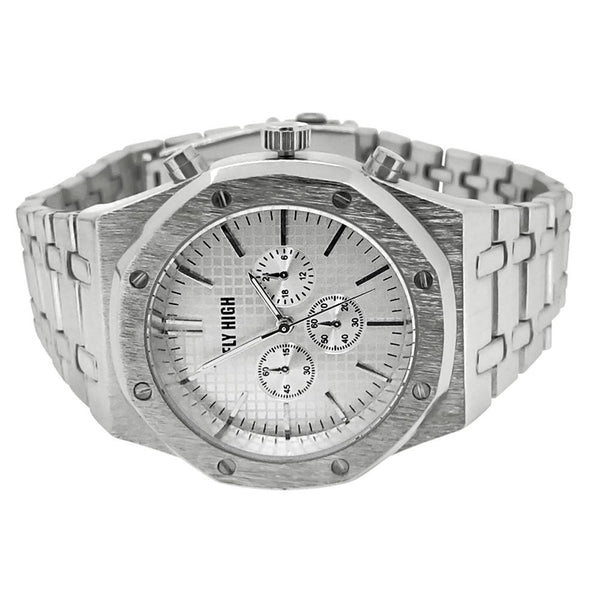 Silver Brushed Chrono Octagon Bezel Watch