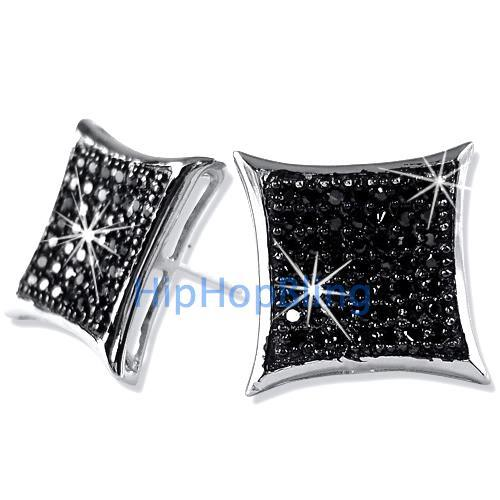 XL Kite Black CZ Bling Bling Micro Pave Earrings .925 Silver