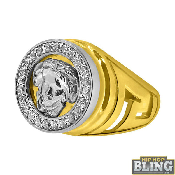 10K Yellow Gold Medusa Custom Cut CZ Mens Ring