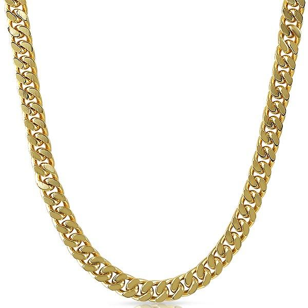 Gold Plated Cuban Box Chain Necklace 8MM