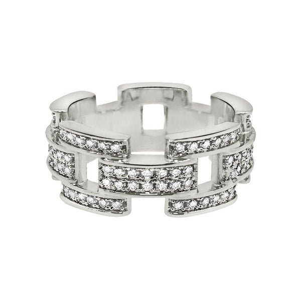 Prez Link Eternity Band Rhodium CZ Bling Bling Ring