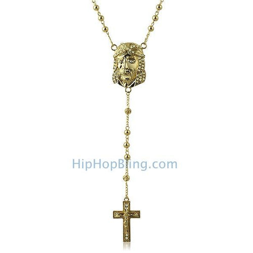 Gold Jesus Piece Bling Rosary Necklace