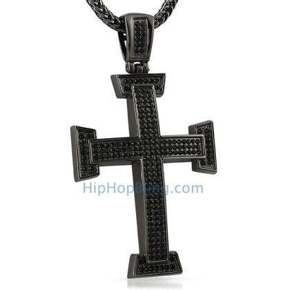 Micro Pave Black Bling Bling Cross