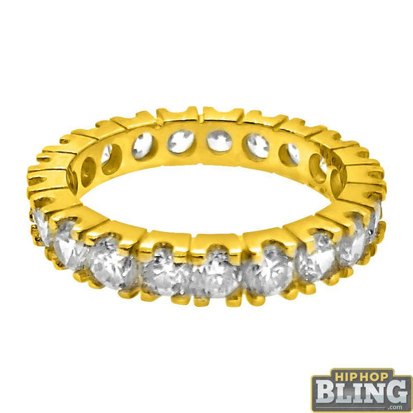 10K Yellow Gold 3MM CZ Eternity Ring