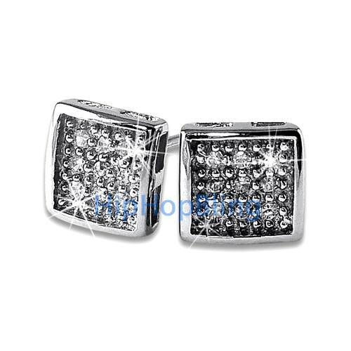 Small Deep Box CZ Micro Pave Bling Earrings .925 Silver