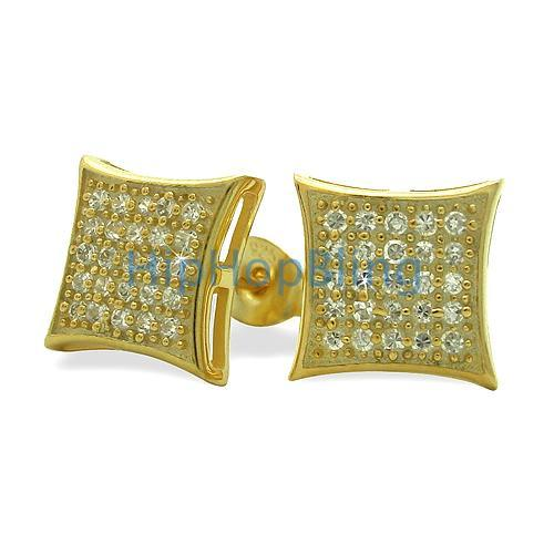 Medium Puffed Kite Gold Vermeil CZ Micro Pave Earrings