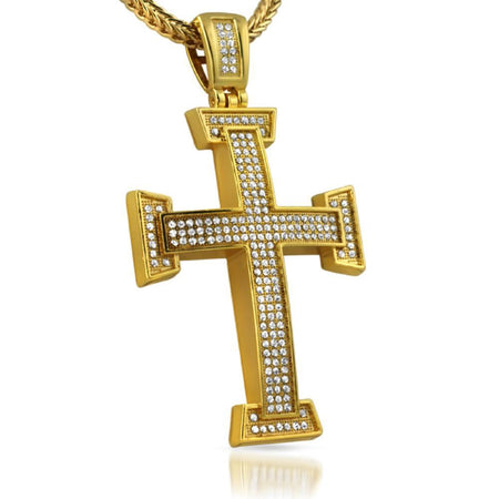 Gold Jesus Crucifix Pendant Stainless Steel
