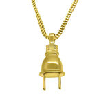 HipHop Gold 3D Hip Hop Plug Pendant w Franco Chain
