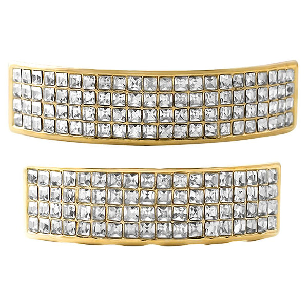 Gold 4 Row Princess Cut Grillz Top & Bottom Set