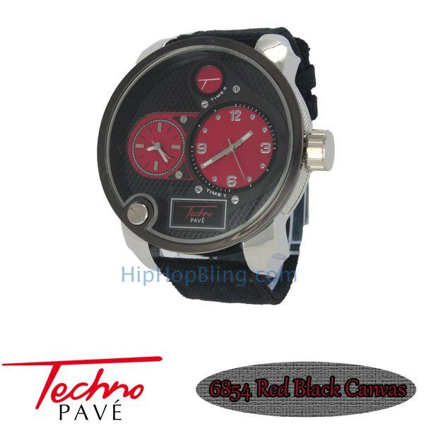 Red Dual Time Zone Silver Watch Black Canvas Band