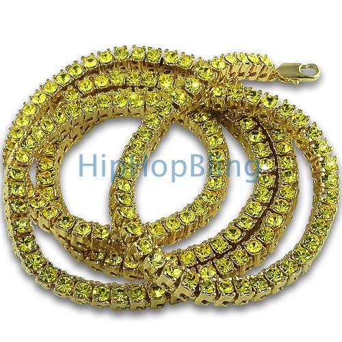 Canary Gold 1 Row Tennis Necklace